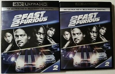 2 Fast 2 Furious 4K Ultra Hd Blu Ray 2 Disc Set + Slipcover Free World Shipping