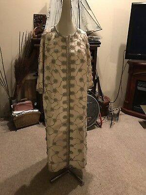 VTG 1950/60's Hand Beaded Ivory Champagne Gown Opera Coat Heavy OPEN TO OFFERS