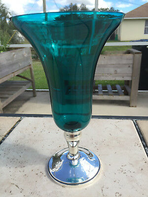 """Gorham Sterling Weighted Base Turquoise Blue Glass 9 1/2"""" Tall Trumpet Vase"""