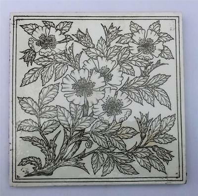 Antique Minton Arts & Crafts Tile - Artists Initials J B - Dog Rose Design