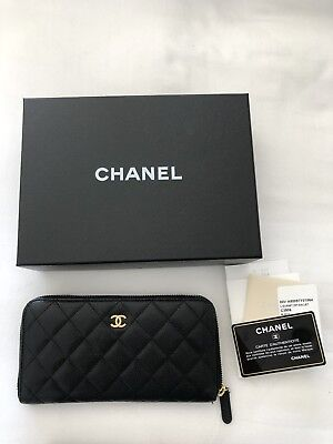 Chanel Black Quilted Caviar Leather L-Gusset Zip Wallet Gold Hardware Pre Owned