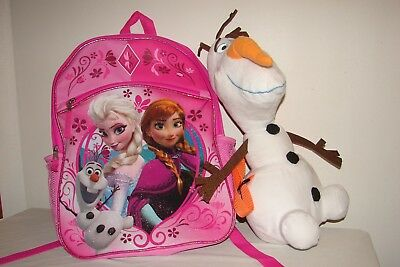 2bfc943f98c Disney Frozen Elsa   Anna Large 16″ Backpack Book Bag + Bonus Olaf Plush Bag