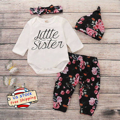 afc745074 Newborn Baby Girl Little Sister Jumpsuit Tops+Floral Pants Headband 3PCS  Outfits
