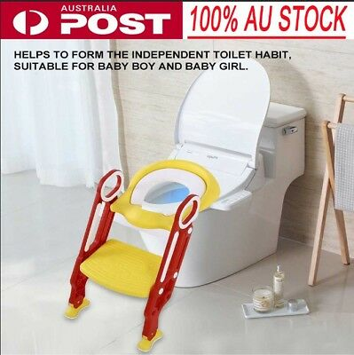 Adjustable Safety Ladder Seat Chair Baby Toddler Kids Potty Training Toilet AU