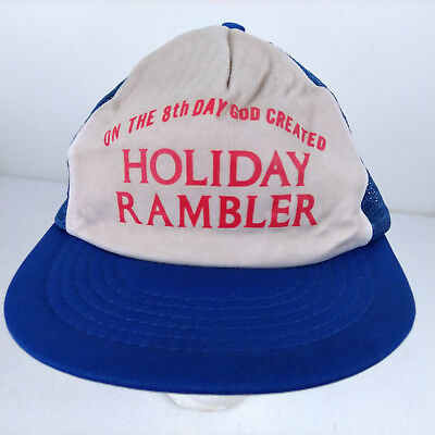 On the 8th Day God Created Holiday Rambler Motorhome Blue Trucker Hat Novelty