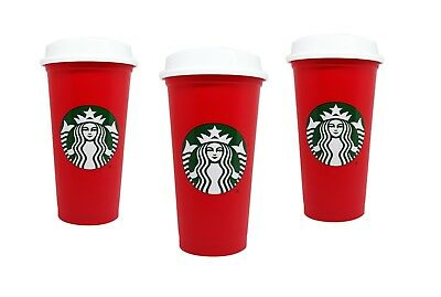 2018 Starbucks Holliday Red Reusable Travel Cup - (Grande 16 Oz)3 pack
