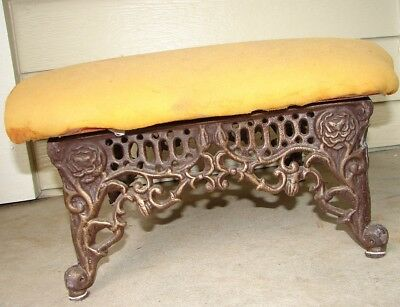 Victorian Cast Iron Floral Bronze Metal Foot Stool Ready to be Reconditioned!