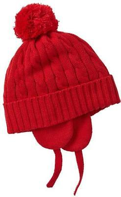 69856a7de29 GAP Baby Toddler Boy Size 12-18 Months Red Cable Knit Fleece Lined Hat w