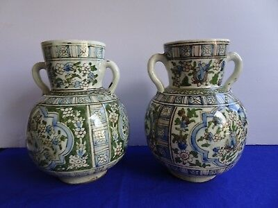 Pair Antique Persian Pottery Earred Vase IRAN on Bottom Green Blue Floral