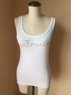 "White "" Bride"" Tank Top W Rhinestones Size M Gilligan & Omalley"