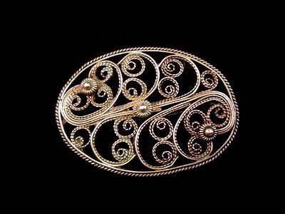 Lovely Vintage, Top Decorated Silver Filigree Brooch!!!