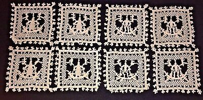 "19th C Italian Figural Reticella Punto, Lace Set of 8 Coasters  4""x4"" Sq. - #1"
