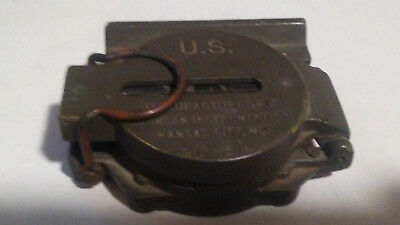 Vintage Brunson Military Compass US Army 10-51 WITH LATER 782 CANVAS CASE