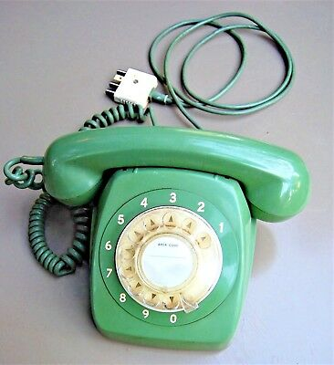 Vintage 1970 Telephone PMG 801 AT STC Rotary Dial S1/203 Green. Working Cond'