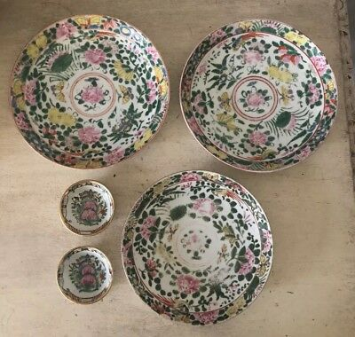 Antique Vintage Asian Japanese Chinese? Painted Porcelain Lot Plates & Dishes