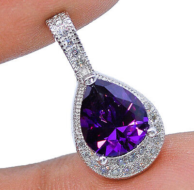 1CT Purple Amethyst & White Topaz 925 Solid Genuine Sterling Silver Pendant