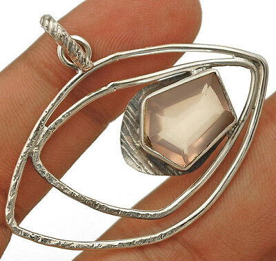 4CT Faceted Rose Quartz 925 Solid Sterling Silver Designer Pendant