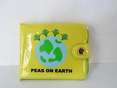 """New Child's Wallet """"Peas on Earth""""David and Goliath Yellow Vinyl"""