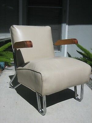 deco Chair machine age streamline Chrome DeLuxe 1940's industrial steel 40's