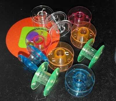 10 Plastic Colour Bobbins (20mm x 10mm) to fit most Domestic Sewing Machines