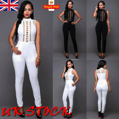 Women Sexy Casual Jumpsuit Party Evening Bandage Hollow Out Romper Long Trousers