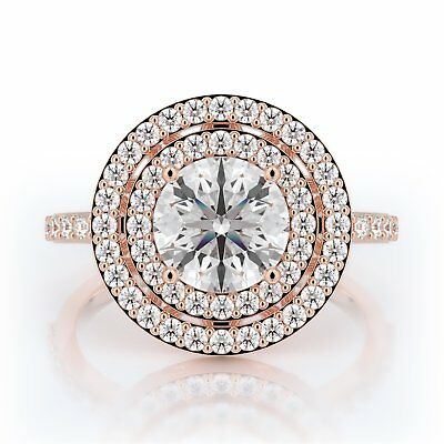 2 Ct Round Natural Genuine Diamond Double Halo Engagement Ring 14K Rose Gold