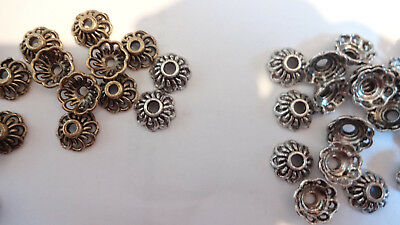 25/50/100 Lovely Tibetan Silver Bead caps 10mm Antique Silver / Gold