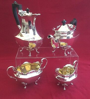 Quality 4 Piece Solid Sterling Silver Tea Set Service London 1912/1915