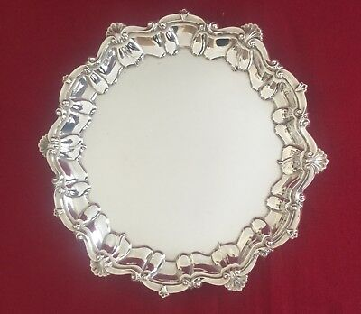 George V Solid Sterling Silver Card Tray Salver Elkington Birmingham 1916