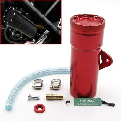 Oil Catch Tank Aluminum Coolant Reservoir Can Red for Motorcycle Motor bike