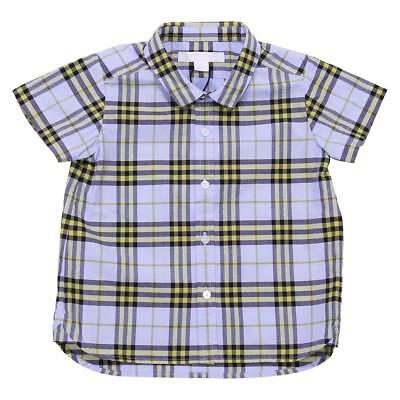 Burberry camicia in cotone check celeste