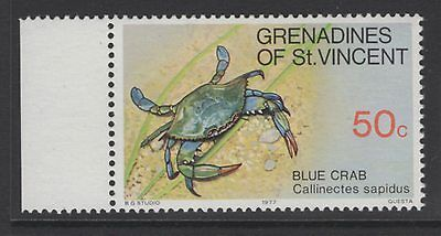 GRENADINES OF ST.VINCENT SG98w 1977 50c CRUSTACEANS WMK CROWN TO RIGHT OF CA MNH