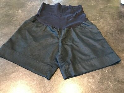 Liz Lange Maternity Dark Trouser Jean Denim Full Belly Panel Shorts Size XS