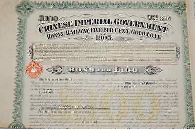 Chinese Imperial Government Honan Railway 5% Gold Loan 1905 Bond £100