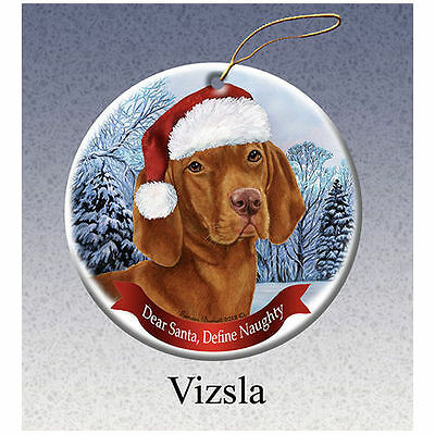 Vizsla Howliday Porcelain China Dog Christmas Ornament