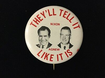 Nixon-Agnew They'll Tell It Like It Is 1 3/4 Inch Button. Box 8