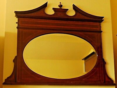 Beautiful Wooden Inlaid Marquetry Over-Mantle Bevelled Mirror Superb Condition