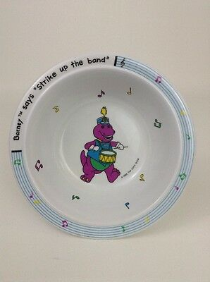 "Barney The Dinosaur Says ""Strike up the Band"" Bowl The Lyons Group Vintage Dish"