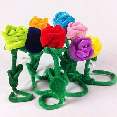 Plush Flower Toy Soft Creative Bendable Stems Colorful Stuffed Rose Flower