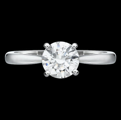 1/2 Ct F Si Round Cut Enhanced Diamond Solitaire Engagement Ring 14K White Gold