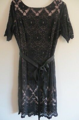 Ladies Black Lace Dress Size 18 Jacques Vert New With Tags