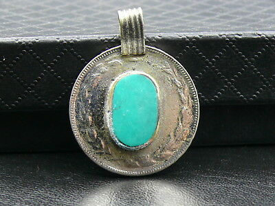 (aV525)   Vintage KUCHI TRIBAL PENDANT. Handmade COIN and TURQUOISE inlaid