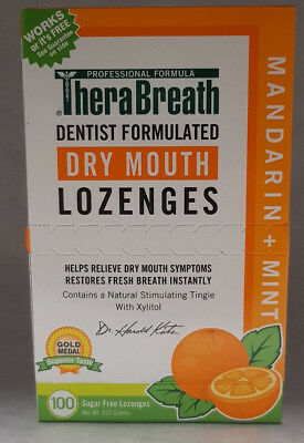 TheraBreath Mouth Wetting Lozenges Mandarin Mint 100 ea for dry mouth bad breath