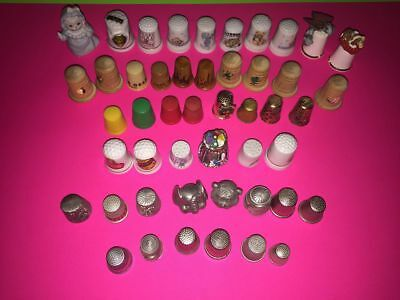 (48) Thimble Collection Lot Ceramic Puter Stainless Steel Wooden Lot