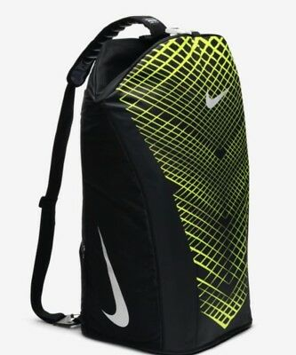 526f9046d641 New Nike Vapor Max Air Training Duffle Bag Medium Black Volt Metallic Silver