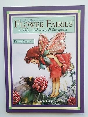 Stumpwork Ribbon Embroidery Flower Fairies Cicely Mary Barker Book Unused