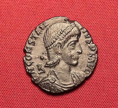 Ancient Roman Bronze AE2 Follis Coin, Constantius
