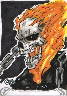 Official Upper Deck MARVEL Masterpieces 2018 sketch card GHOST RIDER 1/1