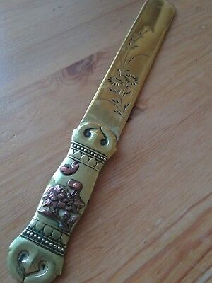 Antique Meiji Japanese Brass and Copper Letter Opener 19th Century Mixed metals.