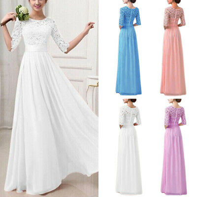 Women Lace Evening Formal Cocktail Party Gown Prom Bridesmaid Tunic Maxi Dress